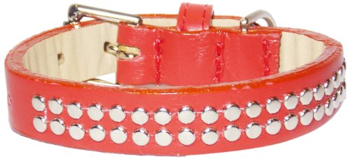 Red Double Row (Double Row Rivets Straight Dog Collar, Extra Large Size 17-22, Red with Rivets)