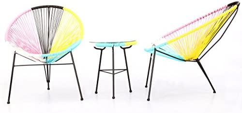 Amazon.com  Kardiel 3 Piece Outdoor Acapulco Chairs   Table  Kitchen    Dining 24a0f6e36df