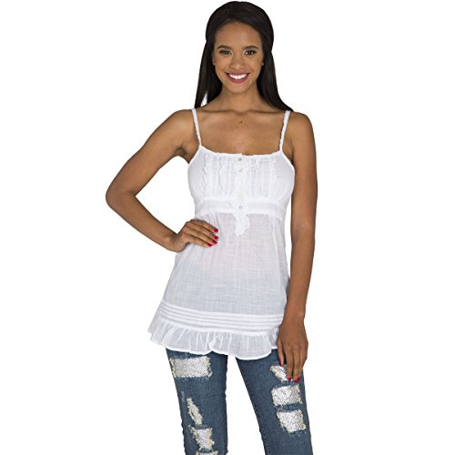 Standards & Practices S&P Junior Women White Cotton Poplin Pintuck Lace Ruffle Empire Waist Tunic Camisole Tops Poplin Ruffle Top