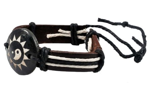 Zen Adjustable PU Leather Bracelet Wristband (Yin Yang)