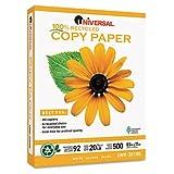 Universal 20100 100% Recycled Copy Paper, 92 Brightness, 20lb, 8-1/2 x 11, White, 5000 Shts/Ctn