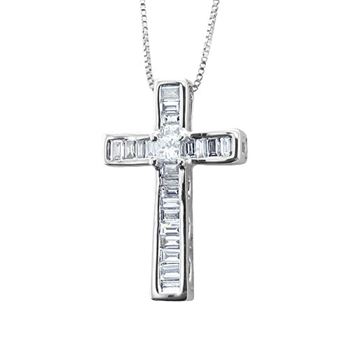 (14k White Gold Princess Cut and Baguette Diamond Cross Pendant Necklace (0.28 carat) - IGI Certified)
