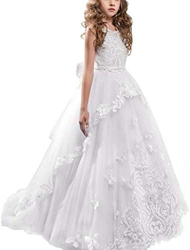 IBTOM CASTLE Little Big Girls Flower Wedding Lace Long
