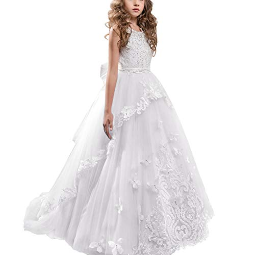 Lace Butterflies Wedding Flower Girl Dress First Communion Pageant Dresses Kid Prom Ball Gown Tulle Evening Dance White 10-11 Years (Butterfly Wedding)