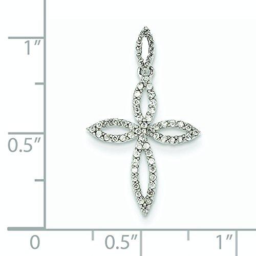 Or blanc 14 carats Diamant-Pendentif croix JewelryWeb