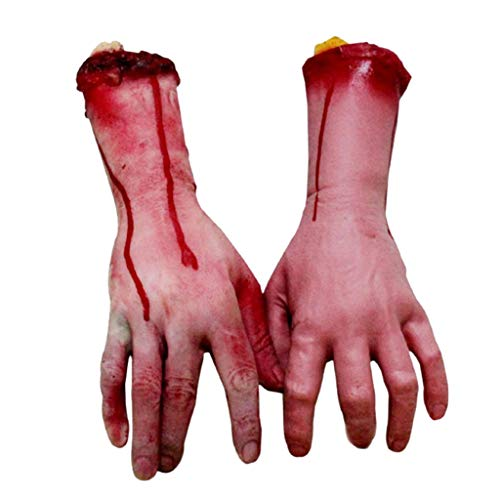 Unionm Halloween Props, DIY Decoration Horror Blood Hands Bloody Dead Body Parts Prop Toys Haunted House Decoration Gift for Home Yard Outdoor Indoor Party Bar Home (2 pcs/Set)