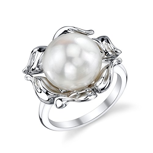 THE PEARL SOURCE 10-11mm Genuine White Freshwater Cultured Pearl Wave Ring for -