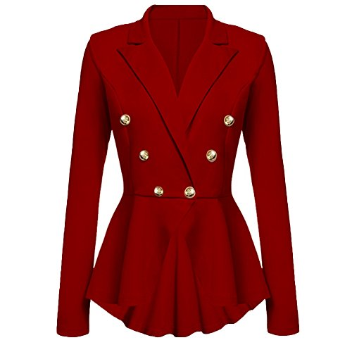 VERYCO Women Peplum Jacket Ladies Lapel Button Frill Fitted Suit Blazer Solid Color Coat Tops Wine Red