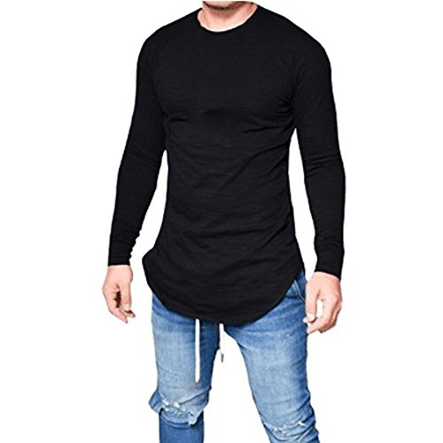 Daomumen Men's Summer Causal Collared Long Sleeve Solid Hip Hop Knits Tees Tunics (Mens Black Tunic)