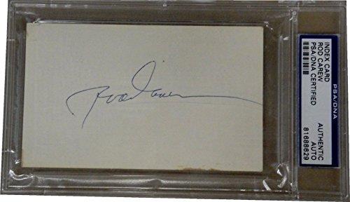 (Rod Carew Hand Signed Autographed Index Card Cut PSA/DNA)