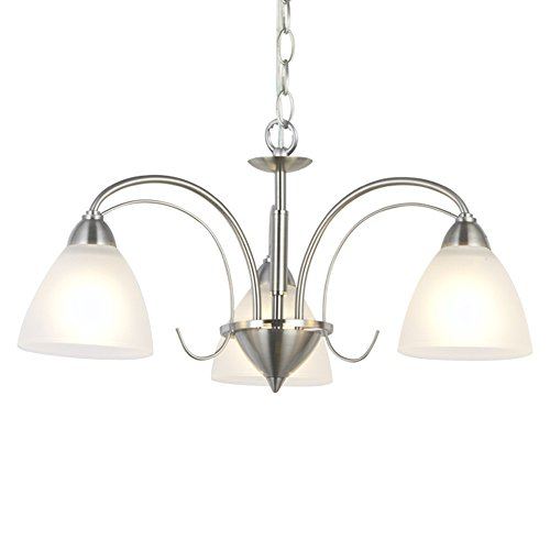 VINLUZ Modern Chandeliers Brushed Nickel 3 Lights Pendant Lighting Mid Century Ceiling Light Fixtures Rustic Chandelier Lighting for Bedroom Foyer Hallway Kitchen For Sale