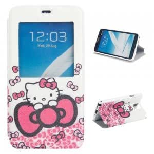 Simplicity Plastic + PU Leather Protective Case with Big Bowknot Cat Pattern for Samsung Note3