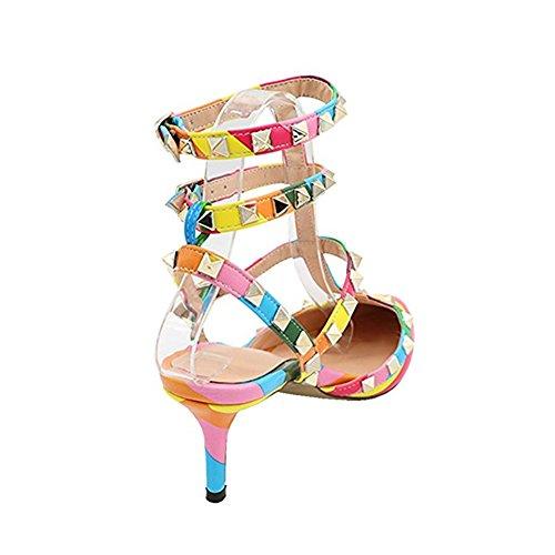 a Cinturino Caitlin Sandali Heel Gold Slingback Borchie con Stud Rainbow Pan Studs Kitten Punta Punta Donna con Dress xRqU0wtrU