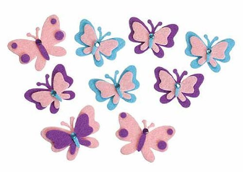 Adorable Stiff Felt Butterflies with Adhesive Backs and Decorative Gems- 60 Pieces
