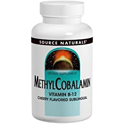 Source Naturals Methylcobalamin Vitamin B-12 5mg Cherry Flavored Sublingual, For Energy and Nerve Health, 60 Tablets