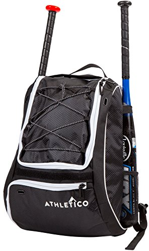 Athletico Baseball Bat Bag - Backpack for Baseball, T-Ball & Softball Equipment & Gear for Kids, Youth, and Adults | Holds Bat, Helmet, Glove, & Shoes | Separate Shoe Compartment, & Fence Hook (Black) (Carrying Case Bat)