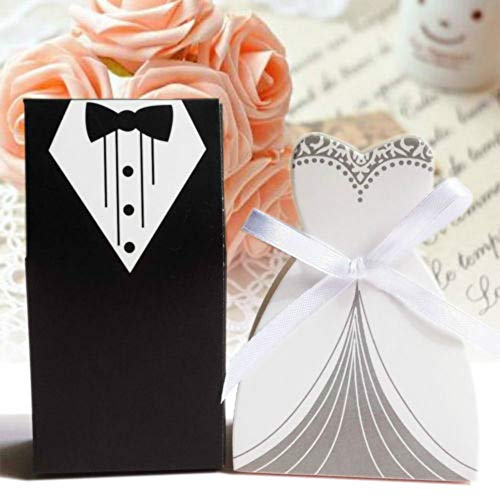 lovemmm 100pcs Wedding Favor Candy Box Bride & Groom Dress Tuxedo Party with Ribbons Wedding Bonbonniere DIY Event Party Supplies
