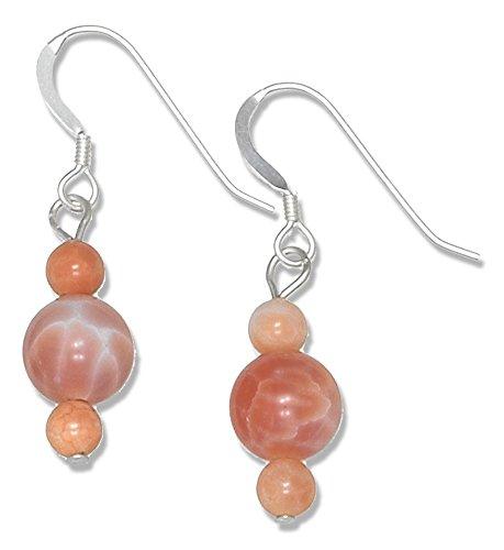 Orange Agate Silver (Sterling Silver Round Orange Fire Agate Bead Earrings)