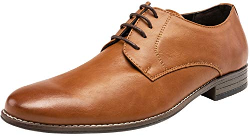 JOUSEN Men's Oxford Classic Plain Toe Derby Dress Shoes(13,Brown-a)