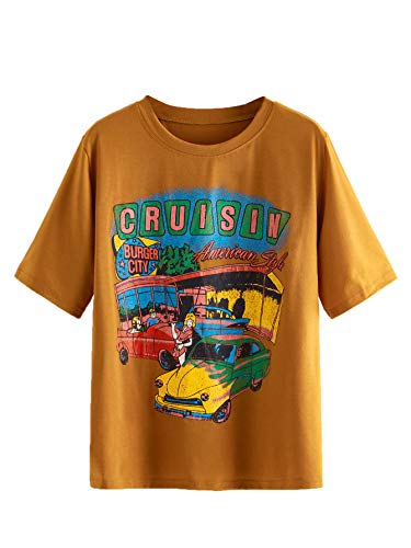 SheIn Women's Graphic Vintage Car T Shirt Letter Print Casual Tee Short Sleeve Round Neck Top