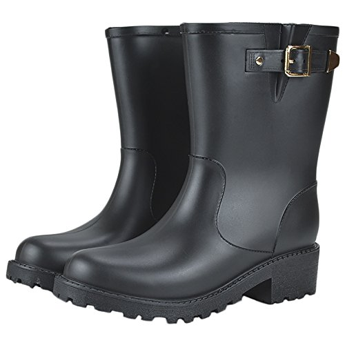 Slip QZUnique Shoes Half Anti Martin Rain Rubber Black Waterproof Rain Boots Women's qrxrvw4A7E