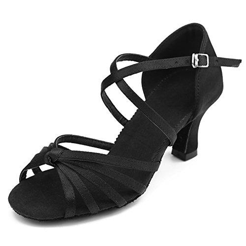 Chaussures De Danse Latine De Satin Noir De Roymall Chaussures De Danse De Tango De Salsa De Salle De Bal, Modèle Wzjcl-7,7.5 B (m) Us