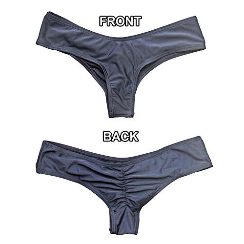 CROSS1946 Sexy Women's Bikini Thong Bottom Brazilian V Cheeky Ruched Semi Swimsuit L