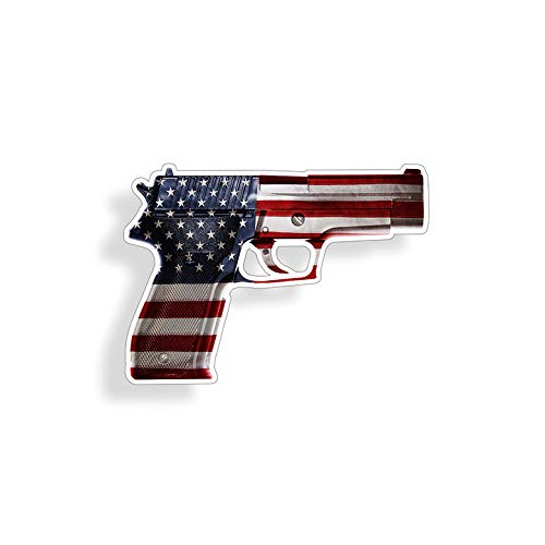 (USA American Flag Gun Sticker Car Truck Window Bumper Cup Laptop Vinyl Pistol Die Cut Decal )
