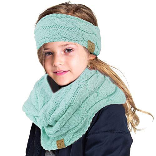 Kids Set Fleeced Lined Headwrap Headband Knit Matching Winter Scarf Solid Mint
