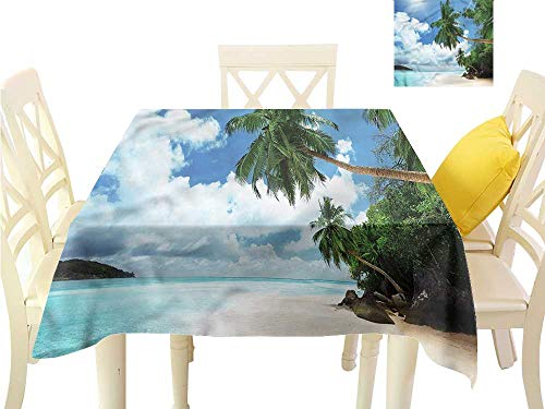 WilliamsDecor Waterproof Table Cloth Beach,Palm Leaf Island Lagoon Kitchen Table Cover W 36