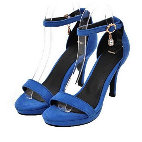 Alto Mujeres de Vestir AllhqFashion con FBUBLD014018 Hebilla Tacón Sandalias Azul Esmerilado qXxxaOdwT