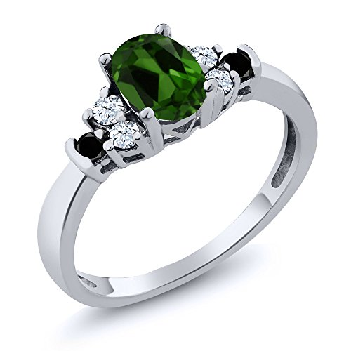0.74 Ct Oval Green Chrome Diopside White Topaz 925 Sterling Silver Ring (Diopside Green Ring)