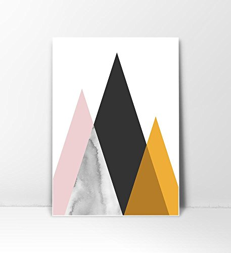 Mid Century Art Print, Midcentury modern Art, Mid Century Print, Mid Century Modern, Modern Mountain, Copper Print, Geometric Print, Modern Wall Art, Mountain Art Print, Mountain Poster, 8x10