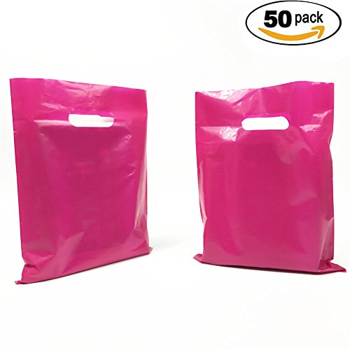 SES.CO 10x13 Inch Hotpink Heavy Duty Die Cut Handle Plastic Merchandise Bags for Retailers,Pack of 50