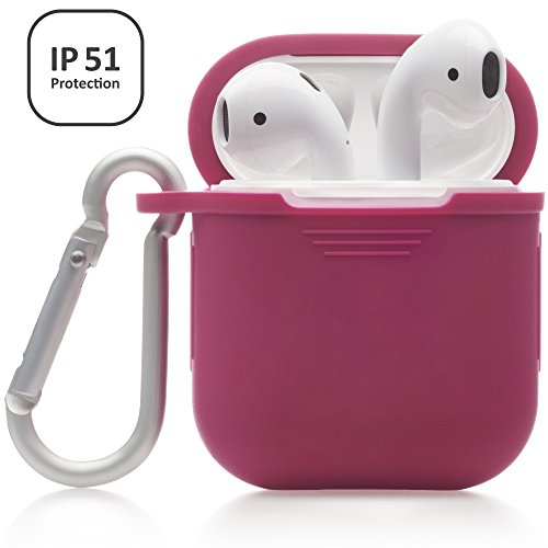 Domatti Protective Silicone Skin Cover Case for Apple Airpods Charging Dock Box – Soft Slim Fit Shockproof Non-Slip Grip Wrap with Keychain Tether Leash for Wireless Bluetooth Earphones (Red) - Non Slip Protective Skin