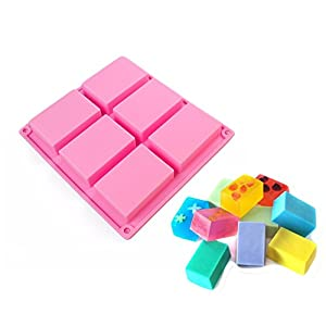 6 Cavity Soap Plain Rectangle Silicone Mold Handmade for hand soap, chocolate, cake, baking (1 pack)