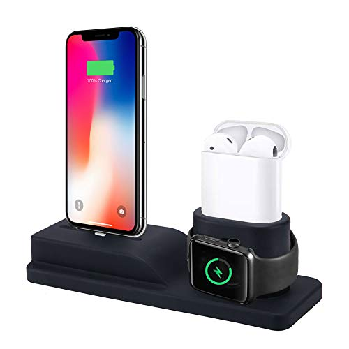 ECZO Charging Stand Compatible for Apple Watch, 3 in 1 Charging Station Silicone for iPhone X/ 8/8 Plus/ 7/7 Plus for Apple Watch Series 1/2/3 and for Airpods (Not Include Cable & Adapter)