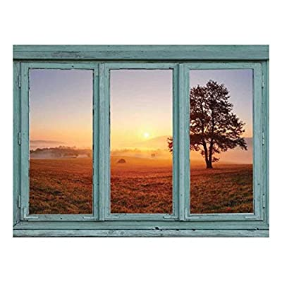 Sunrise Over a Misty Field Looking Off into wooded Hills - Wall Mural, Removable Sticker, Home Decor - 36x48 inches