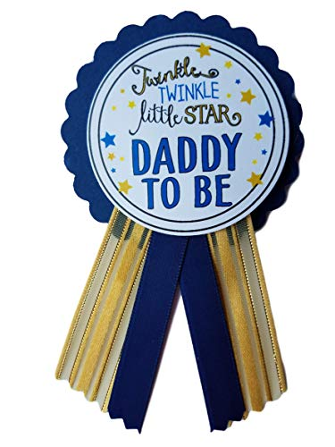 Daddy to Be Pin Twinkle Little Star Baby Shower Pin for dad to wear, Navy & Gold, It's a Girl, It's a Boy Baby Sprinkle (Daddy To Be Corsage)