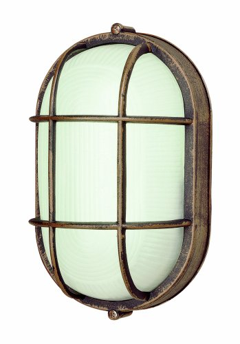 Trans Globe Lighting 41005 RT 8-1/2-Inch 1-Light Medium Outdoor Bulkhead, Rust (Wall Sconce Group Mounted)
