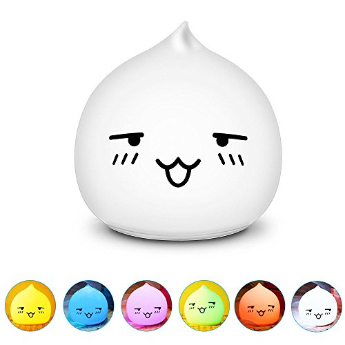 CestMall Battery Powered Portable Adorable Silicone LED Night Light, Touch Sensor Beside LED Table Lamp, Water Drop Night Lamp, Warm White Light & 7 Colorful Lights for Children Bedroom Decor Lamp (B)