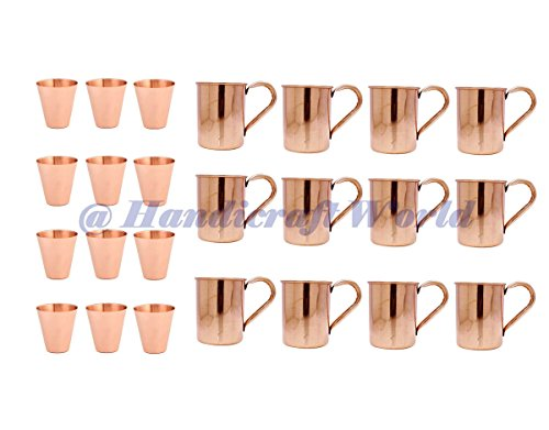 100% COPPER MOSCOW MULE MUGS (SET OF 12) - 12 BONUS COPPER SHOT CUP by Handicraft-World