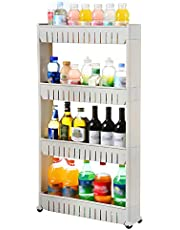 Cloudsky Pantry Storage Rack Multi-Purpose 4 Tier Slide Out Storage Tower with Wheels Mobile Shelving Unit for Kitchen Bathroom Living Room Narrow Places