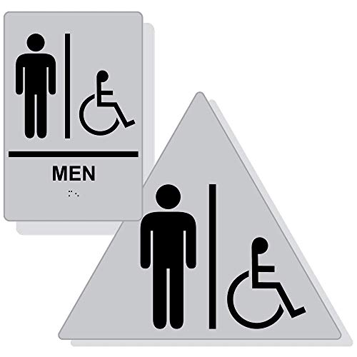 Accessible Men's Restroom Sign Set for Wall/Door, ADA-Compliant Braille with Symbol, Black on Silver Acrylic by ComplianceSigns ()