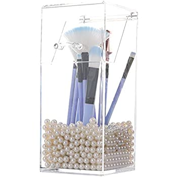 acrylic brush holder dustproof makeup brush organizer with lid covered cosmetic. Black Bedroom Furniture Sets. Home Design Ideas