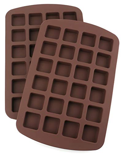 Lawei 2 Pack 24 Cavity Brownie Silicone Mold - Square Cake Mold for Candy, Chocolate Truffles, Jelly