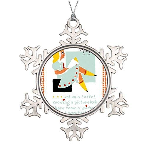 Acove Little_Miss_Muffet_1940s_WPA.jpg Pewter Christmas Snowflake Ornaments 3 inch
