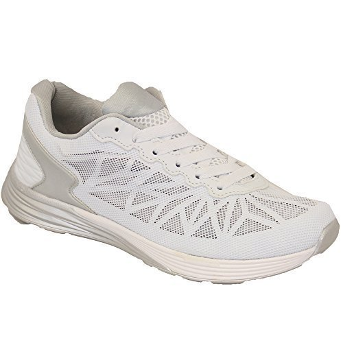Chaussures Course Jogging LY331 Baskets Hommes Neuf Baskets Lacet Gym Blanc Maille Belide Chaussures t8wpU