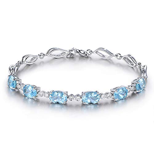 Gnzoe Jewelry-925 Sterling Silver Women Charm Bracelets with Elegant Blue Created-Topaz December Birthstone
