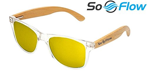 SoFlow Polarized Yellow Wooden Bamboo Sunglasses for Men or Women - Wood Sunglasses - Clear Front Frame - Gold Yellow Polarized Lens - Cool Beach Sunglasses - Medium/Large Fit - - Men Sunglasses Reflective